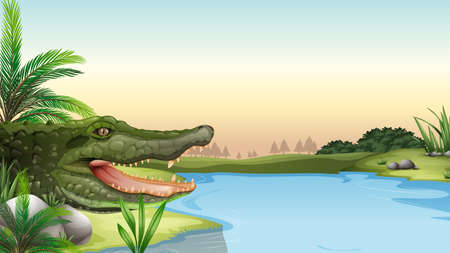 herpetology: Illustration of a reptile at the river