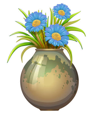 plantae: Illustration of a big pot with blue flowers on a white background
