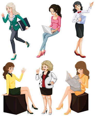 busy person: Illustration of the busy women on a white background Illustration