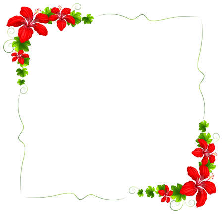 beautify: Illustration of a floral border with red flowers on a white background