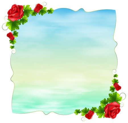 Illustration of an empty template with red roses on a white background Vector