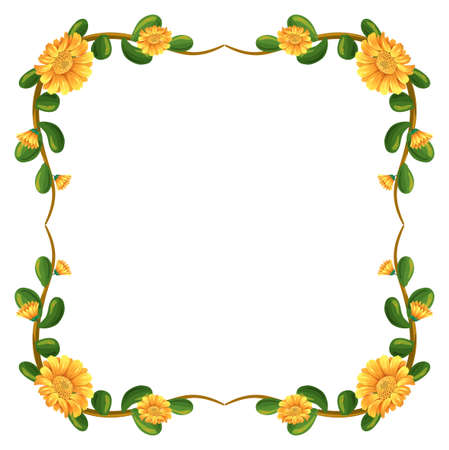 nectars: Illustration of a floral border with yellow flowers on a white background Illustration