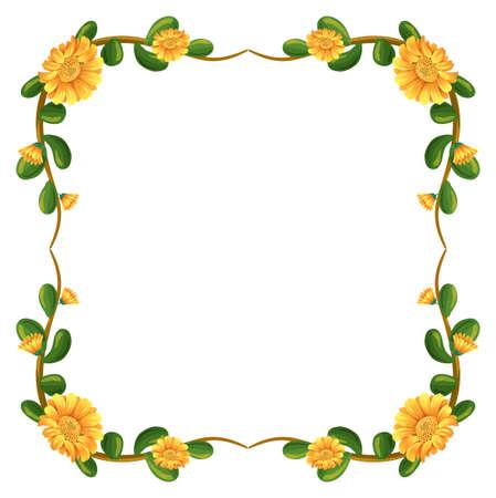 margen: Ilustración de una frontera floral con flores de color amarillo sobre un fondo blanco