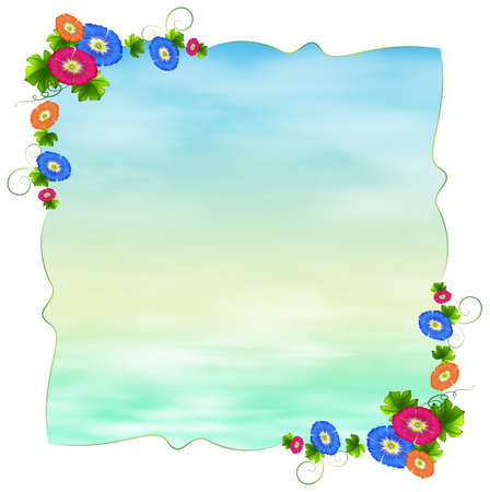 Illustration of an empty template with blooming flowers on a white background Vector