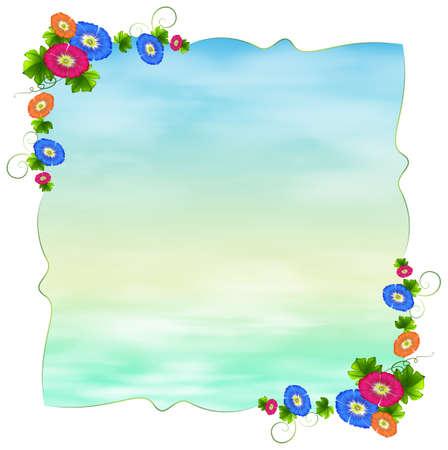 margen: Ilustración de una plantilla vacía que florece con flores sobre un fondo blanco