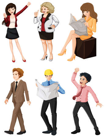 Illustration of the people with different professions on a white background Vector