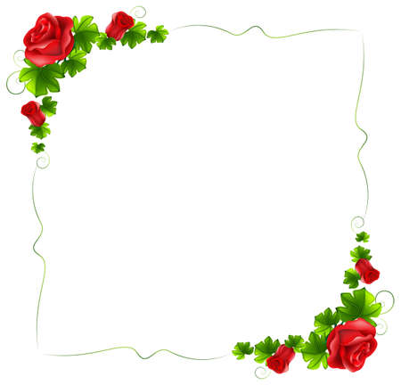 margen: Ilustración de una frontera floral con rosas rojas sobre un fondo blanco