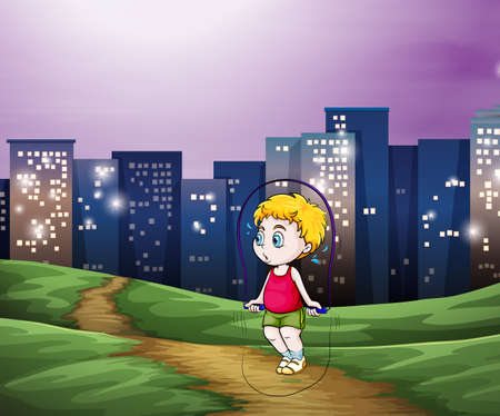 across: Illustration of a young boy playing across the tall buildings in the city Illustration
