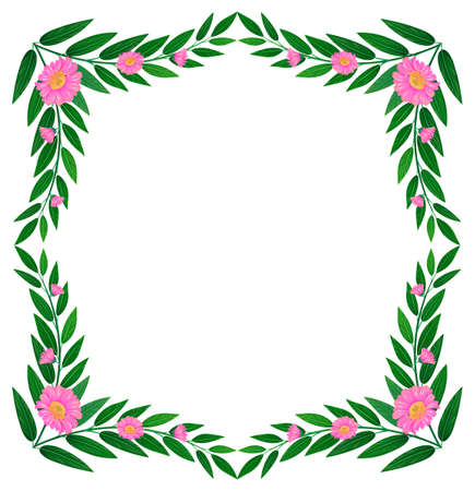 beautification: Illustration of a border made of leaves and flowers on a white background