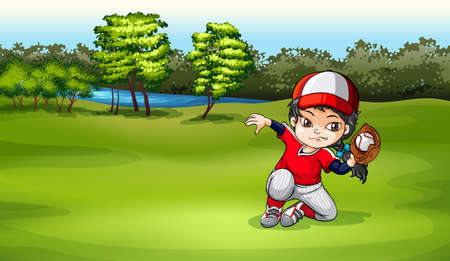 Illustration of a baseball catcher at the field Vector