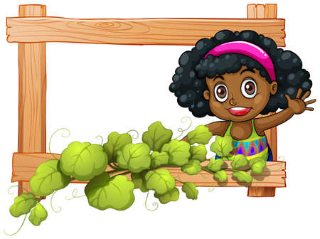 dark complexion: Illustration of a frame with plants and a Black girl waving on a white background