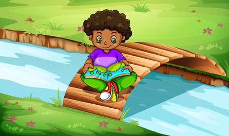 anchored: Illustration of a boy reading at the bridge