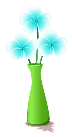 fresh flowers: Illustration of a green vase with fresh flowers on a white background