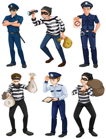 extortion: Illustration of the police officers and robbers on a white background