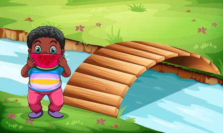 span: Illustration of a boy eating watermelon near the wooden bridge Illustration