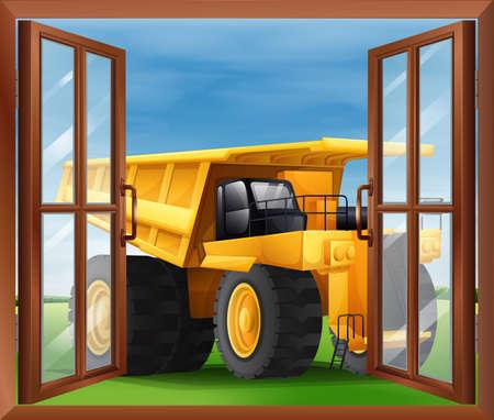 opened eye: Illustration of a bulldozer outside the window Illustration