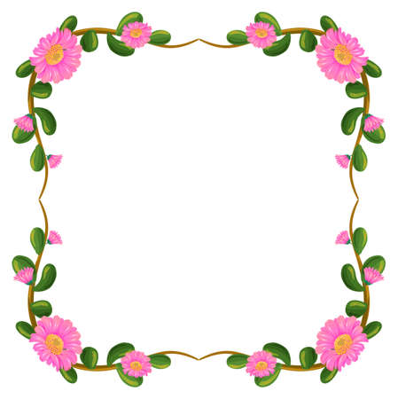 Illustration of a floral border with pink flowers on a white background Vector