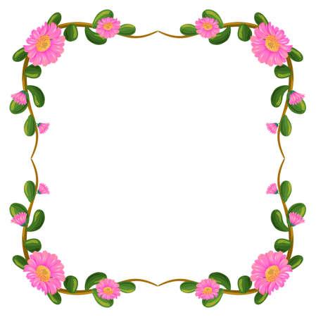 margen: Ilustración de una frontera floral con flores de color rosa sobre un fondo blanco