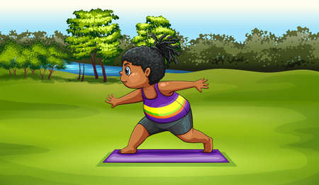 dark complexion: Illustration of a woman doing yoga near the river Illustration