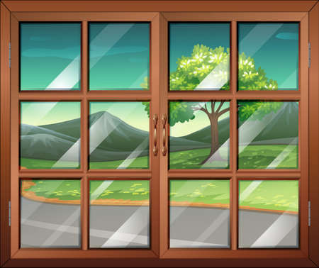 window view: Illustration of a closed window with a view of the road Illustration