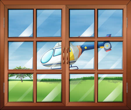 opened eye: Illustration of a closed window and the chopper outside