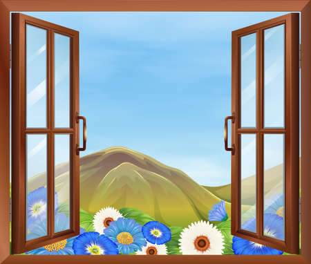 Illustration of a window with flowers outside Vector