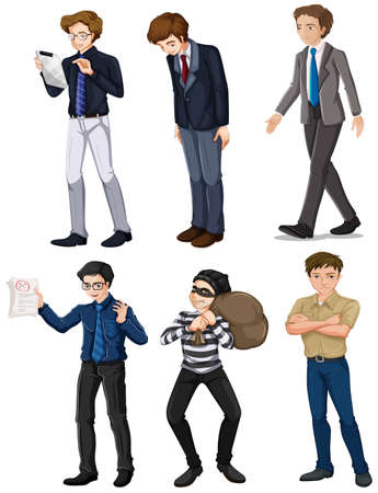 formal attire: Illustration of the six men with different works on a white background Illustration