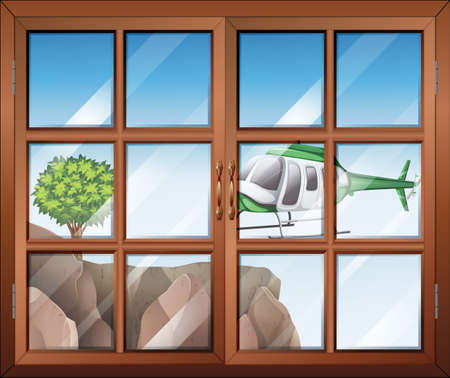 opened eye: Illustration of a closed window with a view of the helicopter going to the cliff