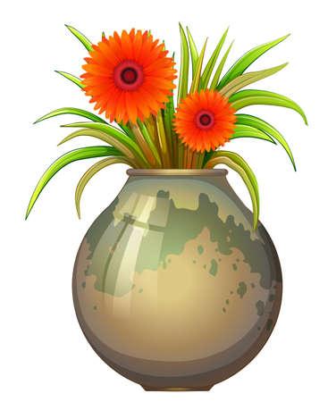 Illustration von einem großen Topf mit einer blühenden Pflanze auf weißem Hintergrund