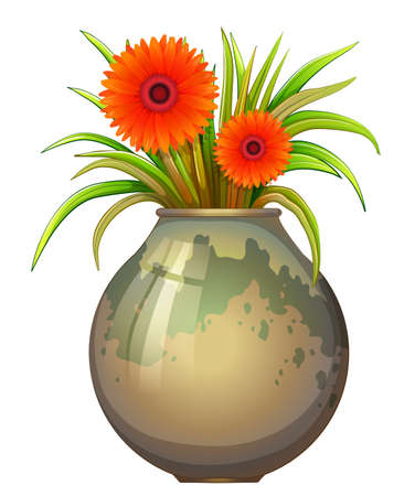 Illustration of a big pot with a flowering plant on a white background Illustration