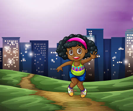 establishments: Illustration of a young girl across the tall buildings in the city Illustration