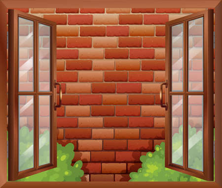 opened eye: Illustration of a window and the tall stonewall