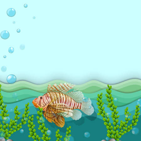 seaweeds: Illustration of a big fish under the sea