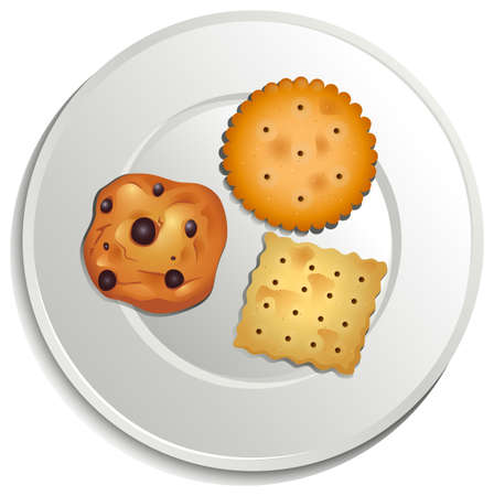 plate of food: Illustration of a plate with biscuits on a white background