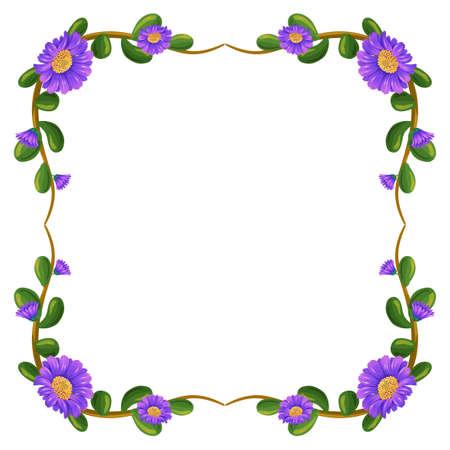 margen: Ilustración de un margen floral con flores de color violeta sobre un fondo blanco Vectores
