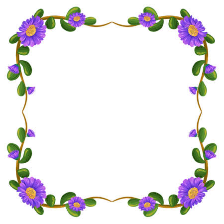 Illustration of a floral margin with violet flowers on a white background