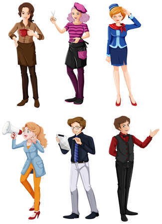 Illustration of the different people in different fields on a white background Vector