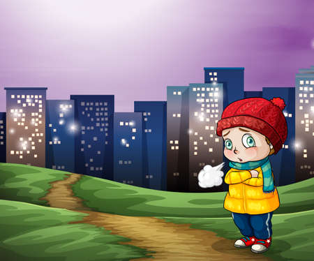 city lights: Illustration of a young child shivering with tall buildings in the background Illustration