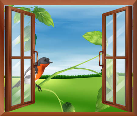 Illustration of an open window with a view of the bird outside Illustration
