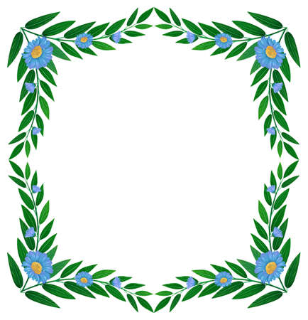 Illustration of a frame made of green plants with flowers on a white background Vector