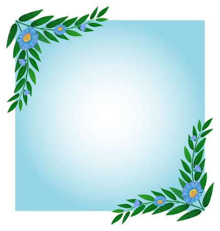margen: Ilustración de una plantilla con bordes verdes y azules en un fondo blanco