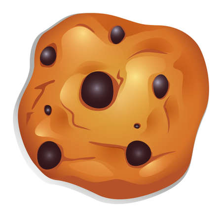choco: Illustration of a crunchy biscuit with choco balls on a white background