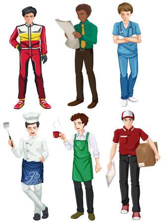empleadas: Ilustraci�n de los seis hombres empleados en un fondo blanco