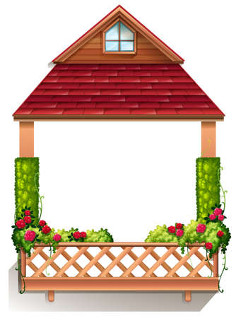 latticework: Illustration of a porch with flowering plants on a white background