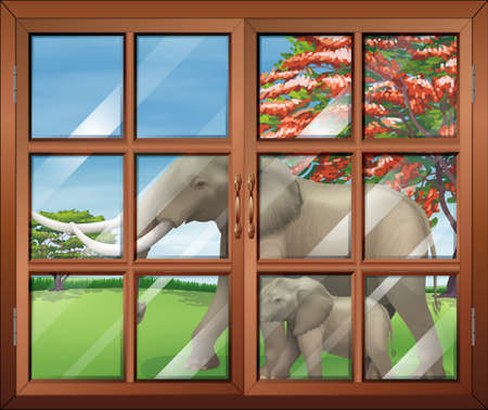 opened eye: Illustration of a closed window with a view of the two elephants outside Illustration