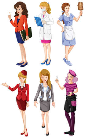 Illustration of the six girls with different professions on a white background Vector