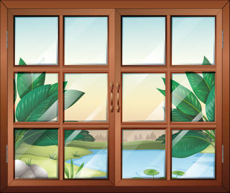 Illustration of a closed window with a view of the pond