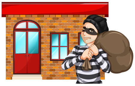 felony: Illustration of a man robbing the building on a white background Illustration