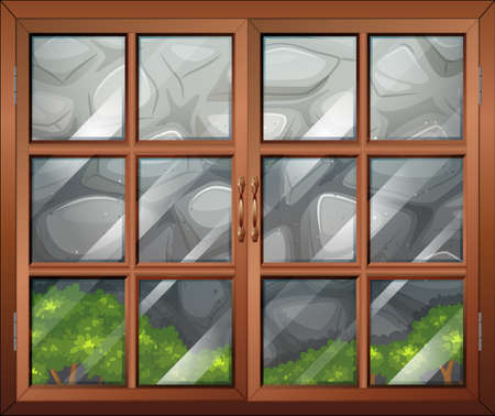 Illustration of a closed window with a view of the stonewall Vector