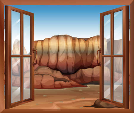 opened eye: Illustration of an open window at the desert